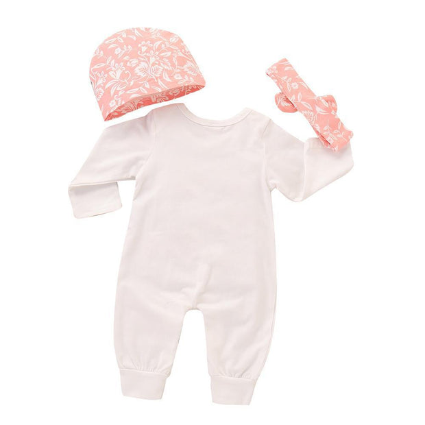 Baby Girl Flower & Letter Print Jumpsuit 3-piece Set