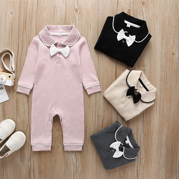 Bow Decor Doll Collar Rib-Knit Jumpsuit