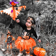 Baby Girl Halloween Bodysuit & Tulle Skirt 4-piece Set