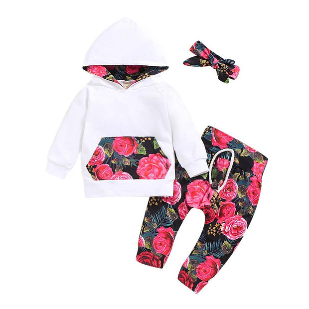Baby Girl Kangaroo Pocket Hoodie & Floral Pants Set