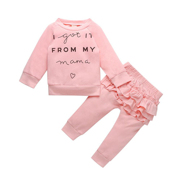 Baby/Toddler Girl Letter Top & Layered Ruffle Pants