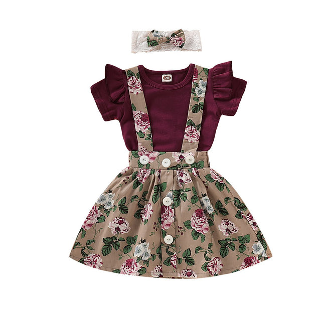 Baby Girl Ruffle Bodysuit & Floral Pinafore Skirt