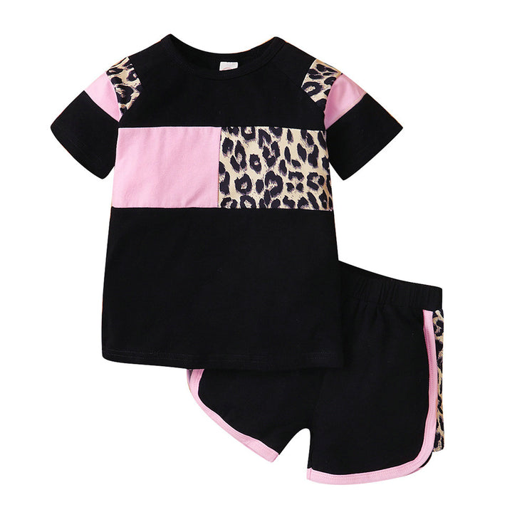 Baby/Toddler Girl Contrast Leopard Print Top & Shorts