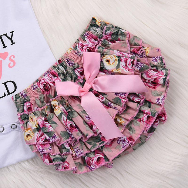 Baby Girl Letter Bodysuit & Floral Shorts With Headband