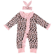 Baby Girl Leopard Ruffle Trim Popper Jumpsuit