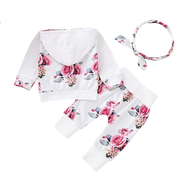 Baby/Toddler Girl Floral Print Hoodie & Pants Set