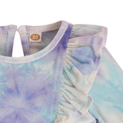 Baby Girl Velvet Tie Dye Ruffle Dress Without Bag