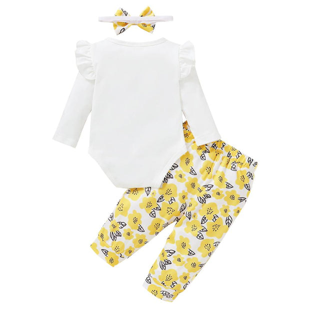 Baby Girl Ruffled Letter Bodysuit & Floral Pants Set