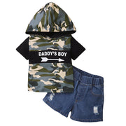 Baby/Toddler Boy Letter Hooded Top & Denim Shorts