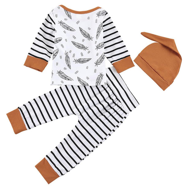 Baby Boy Feather And Striped Print Top & Pants Set