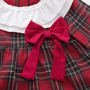 Baby Girl Plaid Bow Decor Top & Ruffle Trim Shorts