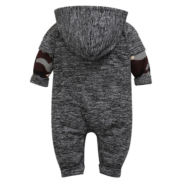Baby Boy Contrast Camo Hooded Jumpsuit