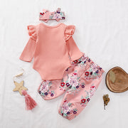 Baby Girls Bodysuit Pant Headband 3Pcs Outfits