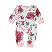 Baby Girl Ruffle Trim Flower Print Jumpsuit