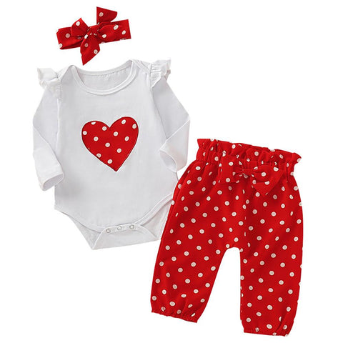 Baby Girl Polka Dot Print Ruffle Trim 3-piece Set