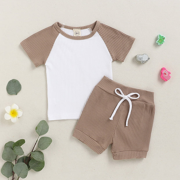 Baby/Toddler Boy Rib-knit Cut And Sew Top & Shorts