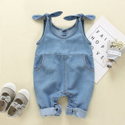Baby Pocket Side Bow Shoulder Denim Overall