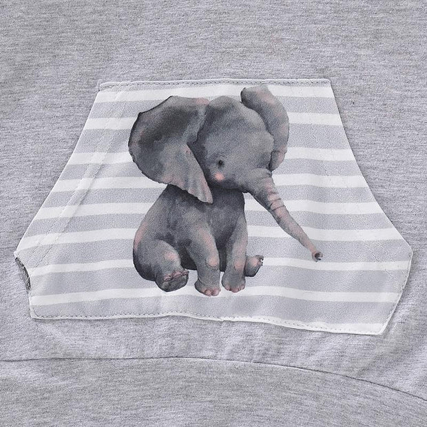 Baby Boy Elephant Print Hooded 2-piece Set