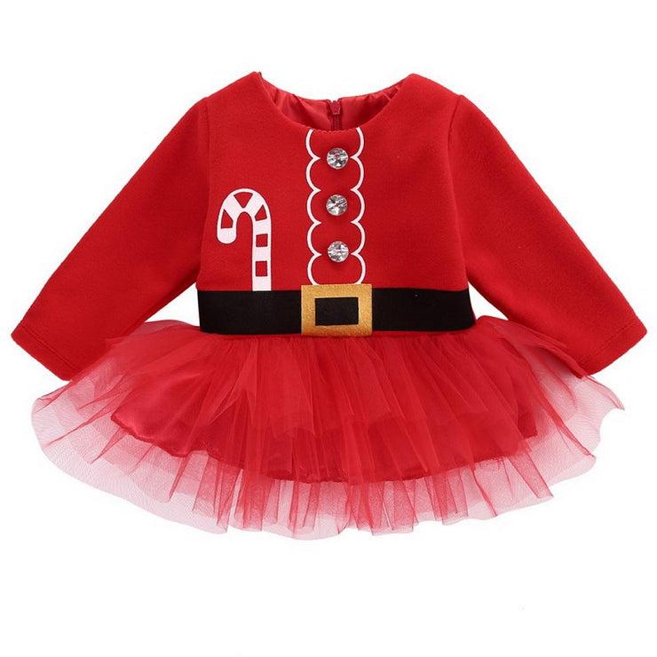 Baby Girl Christmas Candy Canes Print Tutu Dress