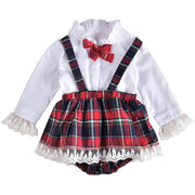 Baby/Toddler Girl Frilled Contrast Lace Plaid 2-piece Set
