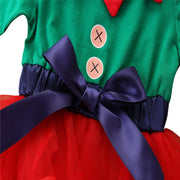 Baby Girl Color Block Bow Front Christmas Dress