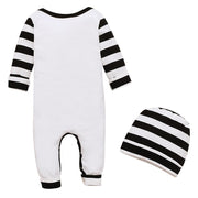 Baby Boy Stripe & Letter Print Jumpsuit With Hat