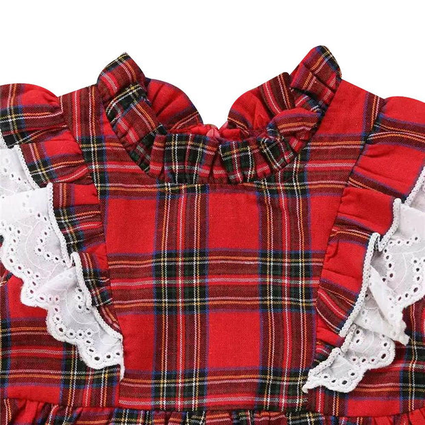 Toddler Girl Frill Neck Bell Sleeve Plaid Dress