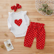 Baby Girls Polka Dot Bodysuit Pant Polka Dot 3Pcs Set Outfits