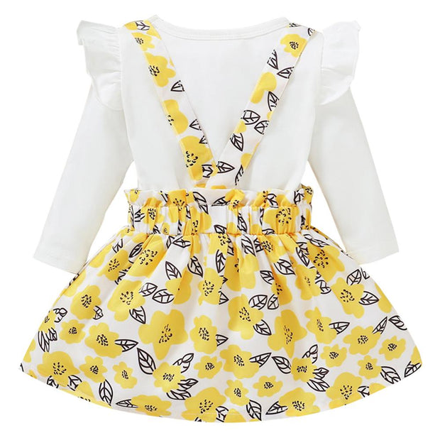 Baby Girl Ruffle Trim Top & Floral Pinafore Skirt