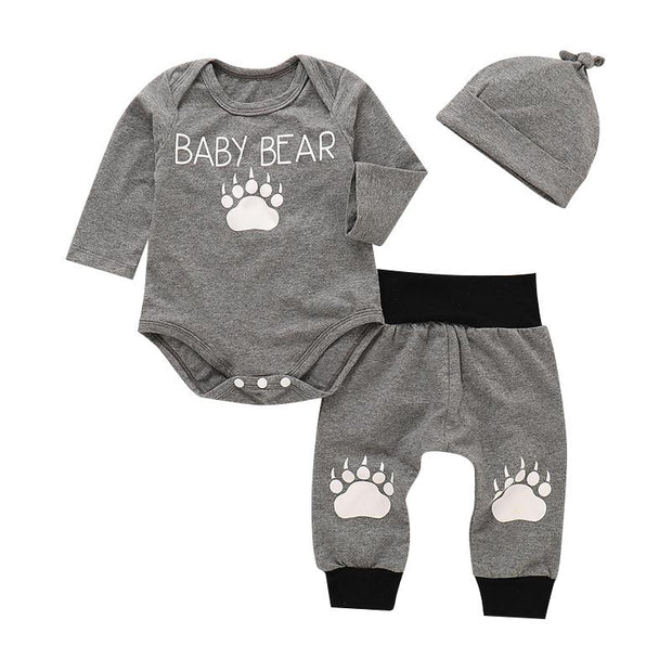 Baby Boy Bear Footprint Long Sleeve 3-piece Set