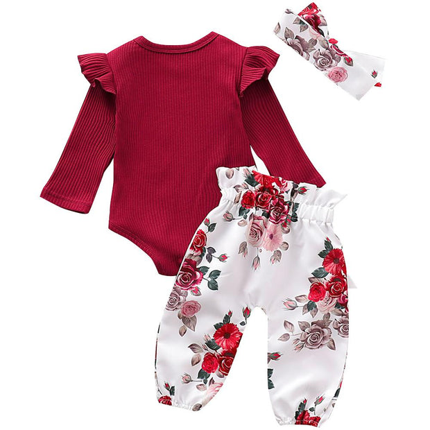Baby Girl Long Sleeve Bodysuit & Floral Pants Set
