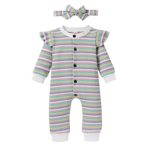 Baby Girl Button Front Rib-knit Striped Jumpsuit