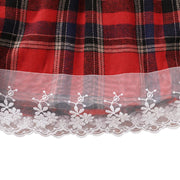 Baby Girl Ruffle Wrinkled Top & Plaid Pinafore Skirt