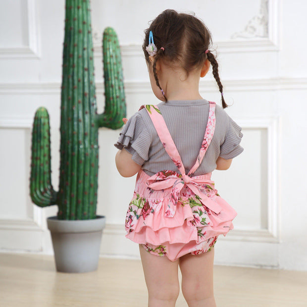Baby Girl Ruffle Sleeve Top & Floral Overall Romper