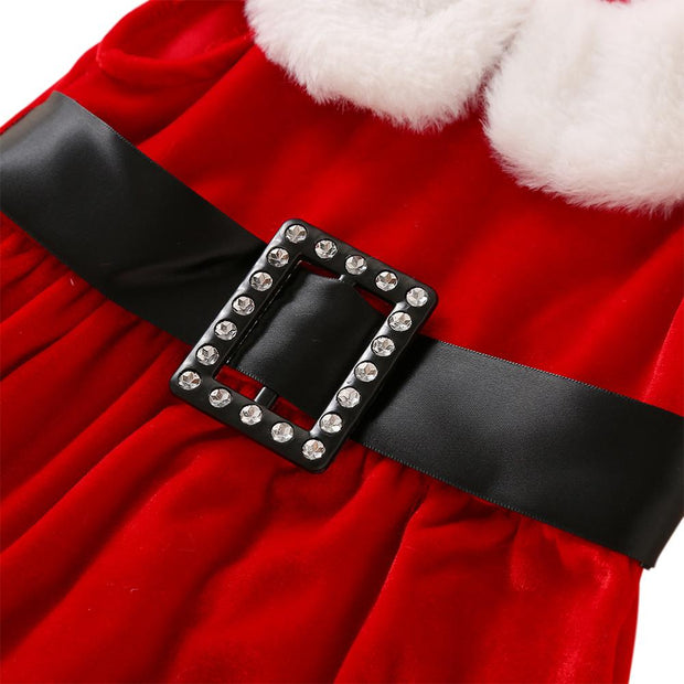 Baby/Toddler Girl Buckle Belt Velvet Christmas Dress