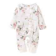 Baby Girl Floral Ruffle Trim Popper Through Bodysuit