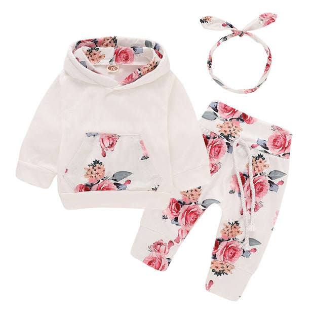 Baby Girl Floral Kangaroo Pocket Hooded 3-piece Set