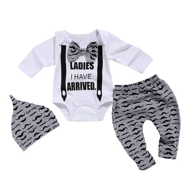Baby Boy Long Sleeve Mustache Pattern 3-piece Set