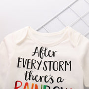 Baby Letter & Rainbow Print Long Sleeve 3-piece Set