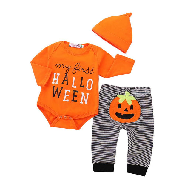 Baby Letter Bodysuit & Halloween Pumpkin Stripe Pants