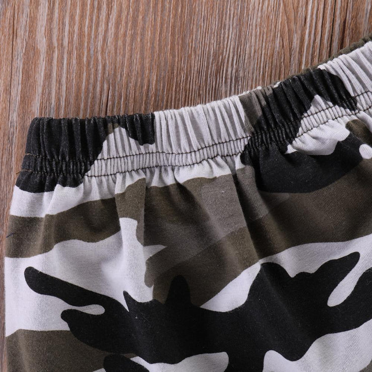 Baby/Toddler Boy Letter Print Black Tee & Camo Shorts