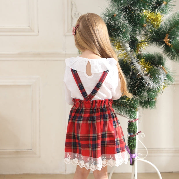 Baby/Toddler Girl Bow Front Ruffle Top & Plaid Skirt