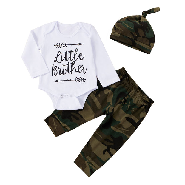 Baby Boy Little Brother Graphic Bodysuit & Camo Pants