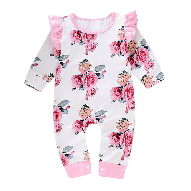 Baby Girl Floral Print Ruffle Trim Jumpsuit