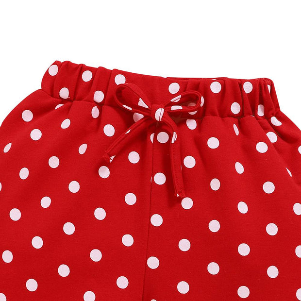 Baby Girl Contrast Ruffle Trim Top & Polka Dot Pants