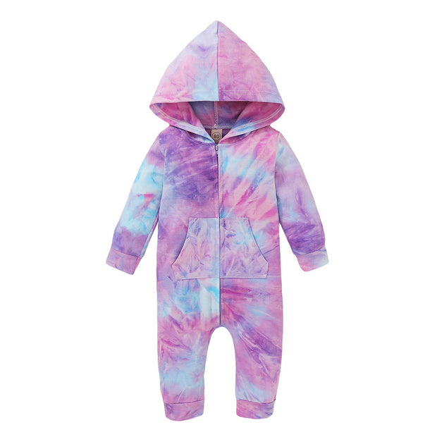 Baby Girl Tie Dye Hooded Jumpsuit