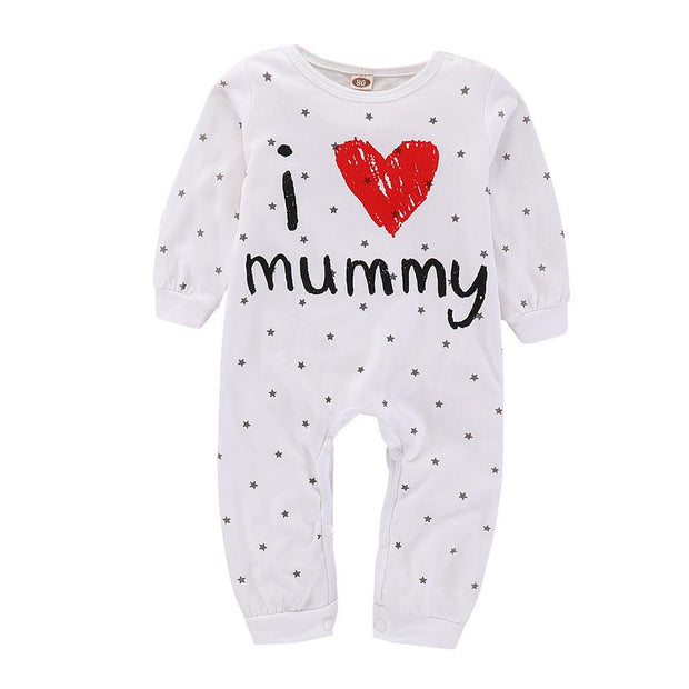 Baby I Love Mummy/Daddy Letter Print Jumpsuit