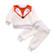 Baby Cartoon Fox Print Teddy Top & Pants