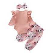 Baby Girl Ruffle Bodysuit & Floral Belted Pants Set