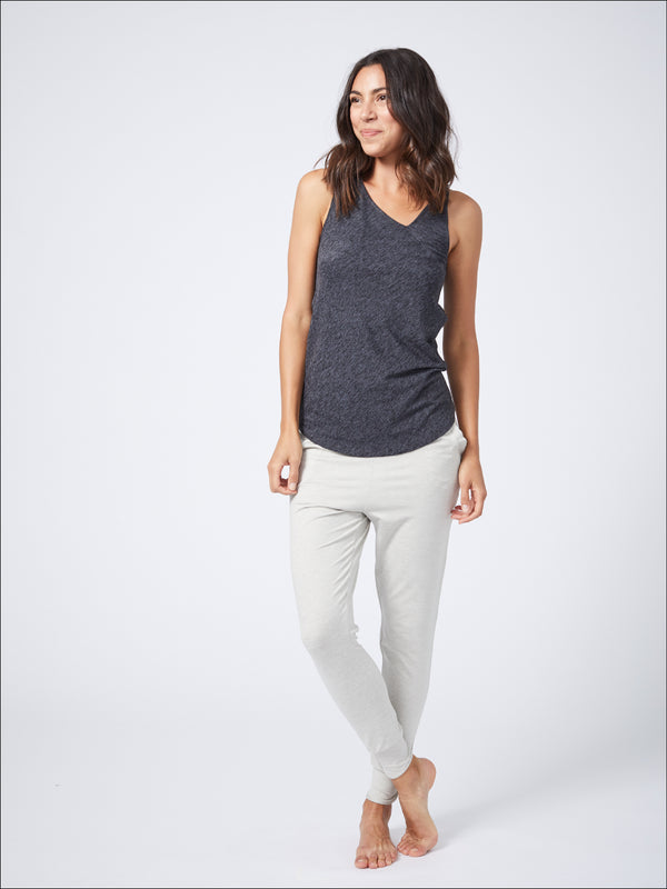 Serene Asymmetrical Tank Charcoal Black